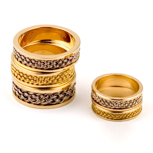Rings with Inset Weave in 18k & 22k yellow gold; 18k palladium white gold