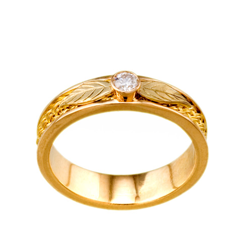 Ash Leaves Ring in 18k & 22k gold with diamond