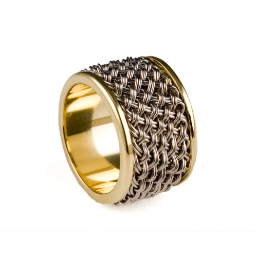 Inset Weave Ring in 18k palladium white and yellow gold by Tamberlaine