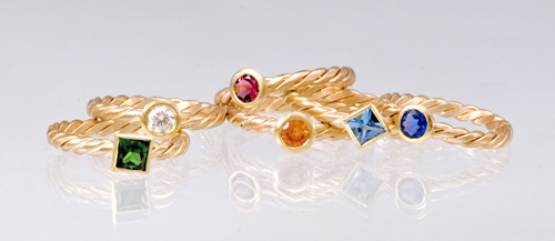 Stacking Rings in 18k gold