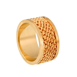 Inset Weave Ring fine weave 10mm 18k gold