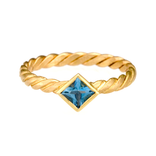 Stack Twist Ring 18k gold,  Aquamarine