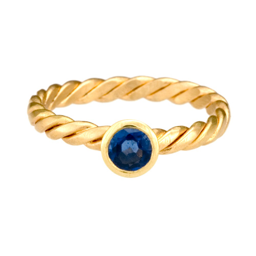 Stack Twist Ring 18k gold, Blue Sapphire