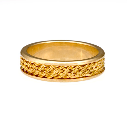 Ring with Inset Weave in 18k yellow gold & 22k gold