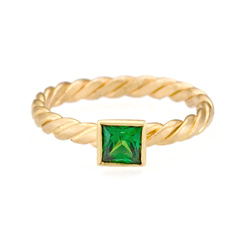 Stack Twist Ring - 18k Tsavorite princess cut