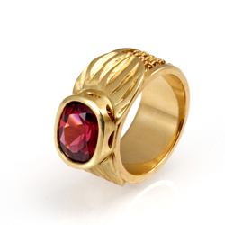Inset Weave Ring 18k gold carved setting cushion cut rhodolite garnet