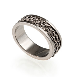 Inset Weave Ring 7mm in 18k palladium white gold