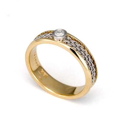 Diamond Ring with Inset Weave in 18k & 22k gold with diamond
