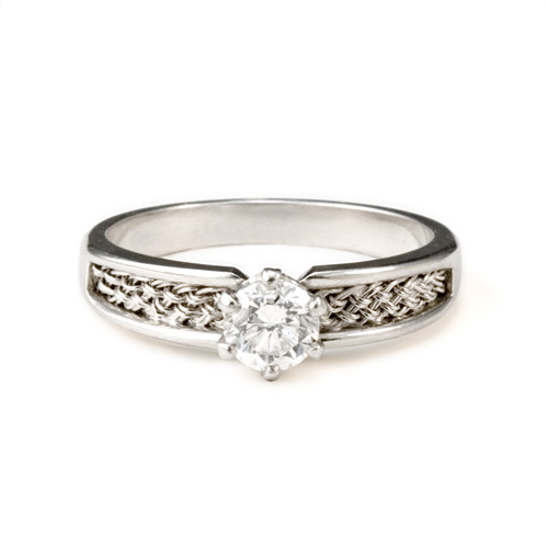 Solitaire Ring in platinum with diamond by Tamberlaine