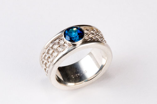 Blue Topaz Ring in silver hand woven by Tamberlaine