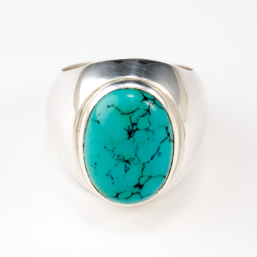 Hollow Form Turquoise Ring in silver by Tamberlaine