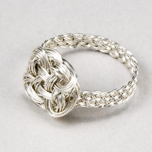 Braided ring in silver with Turk's head knot by Tamberlaine, Maine jeweler