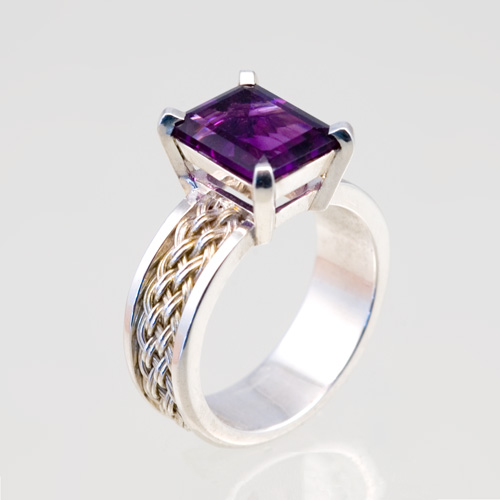 Amethyst Ring in silver hand woven by Tamberlaine