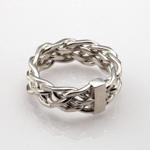 Six Strand Cut Weave Ring in oxidized sterling silver by Tamberlaine