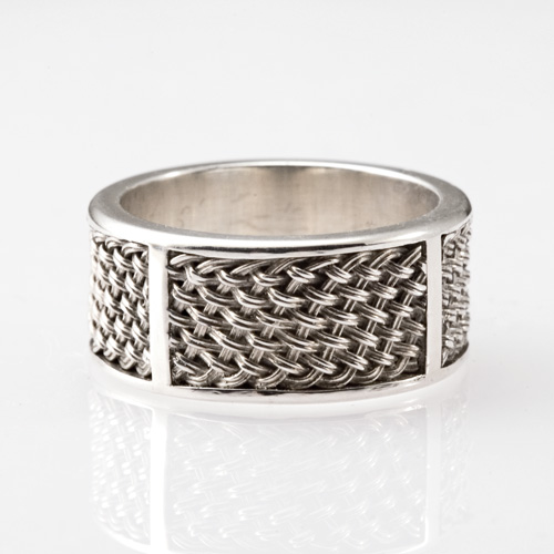 Inset Weave Ring in silver by Tamberlaine