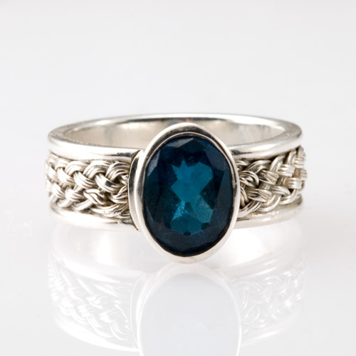 Oval Blue Topaz Inset Weave Ring in silver by Tamberlaine