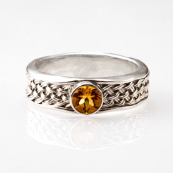 Citrine Inset Weave Ring