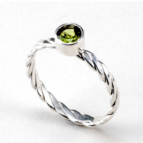 Peridot Stack Twist Ring in silver by Tamberlaine
