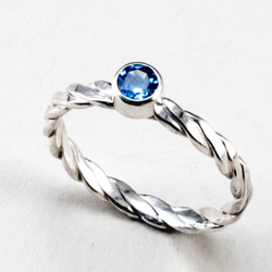 Swiss Blue Topaz Stack Twist Ring